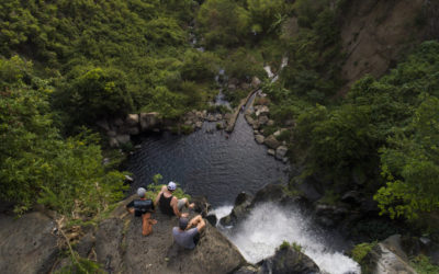 Bryn Atkinson, Bas VanSteenbergen with locals David Delassus and Theo Booy on Reunion Island, Indian Ocean